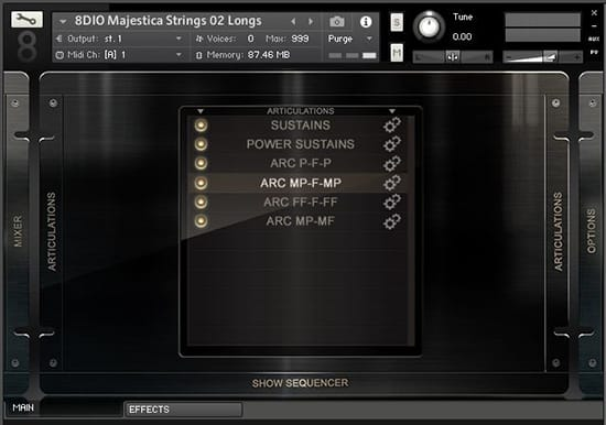 Majestica Strings Articulations