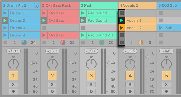 Ableton Live - Session View Clips