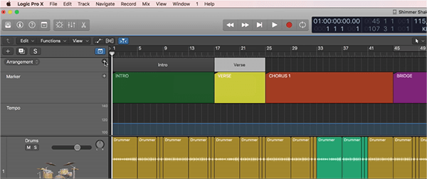Logic Pro X Improved Track Arrangement