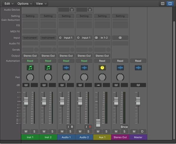 Logic Pro X Mixer