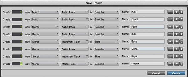 Naming Tracks Pro Tools DAW