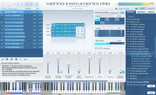 Vienna Instruments Pro basic View