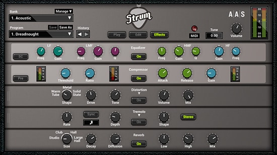 GS2 Strum Effects Panel